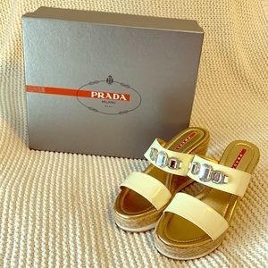 Prada Leather Capretto Crystal Espadrille